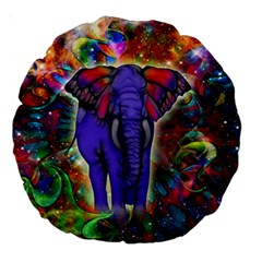 Abstract Elephant With Butterfly Ears Colorful Galaxy Large 18  Premium Round Cushions by EDDArt