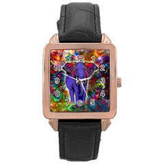 Abstract Elephant With Butterfly Ears Colorful Galaxy Rose Gold Leather Watch