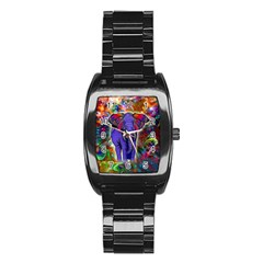 Abstract Elephant With Butterfly Ears Colorful Galaxy Stainless Steel Barrel Watch
