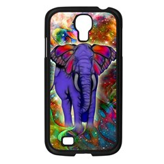 Abstract Elephant With Butterfly Ears Colorful Galaxy Samsung Galaxy S4 I9500/ I9505 Case (black)