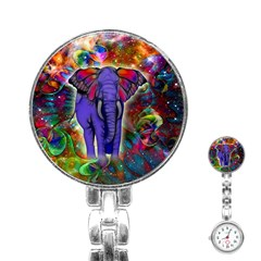 Abstract Elephant With Butterfly Ears Colorful Galaxy Stainless Steel Nurses Watch