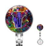 Abstract Elephant With Butterfly Ears Colorful Galaxy Stainless Steel Nurses Watch Front