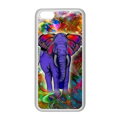 Abstract Elephant With Butterfly Ears Colorful Galaxy Apple Iphone 5c Seamless Case (white)