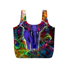 Abstract Elephant With Butterfly Ears Colorful Galaxy Full Print Recycle Bags (s)