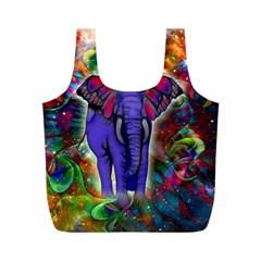 Abstract Elephant With Butterfly Ears Colorful Galaxy Full Print Recycle Bags (m)  by EDDArt
