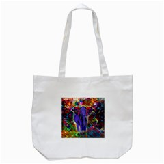 Abstract Elephant With Butterfly Ears Colorful Galaxy Tote Bag (white)