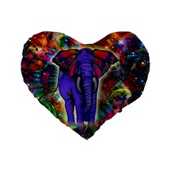 Abstract Elephant With Butterfly Ears Colorful Galaxy Standard 16  Premium Flano Heart Shape Cushions