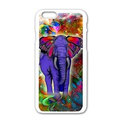 Abstract Elephant With Butterfly Ears Colorful Galaxy Apple Iphone 6/6s White Enamel Case