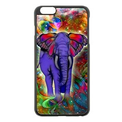 Abstract Elephant With Butterfly Ears Colorful Galaxy Apple Iphone 6 Plus/6s Plus Black Enamel Case