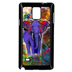 Abstract Elephant With Butterfly Ears Colorful Galaxy Samsung Galaxy Note 4 Case (black)