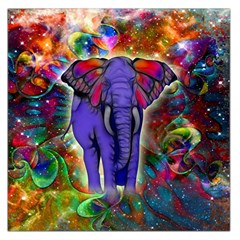 Abstract Elephant With Butterfly Ears Colorful Galaxy Large Satin Scarf (square)