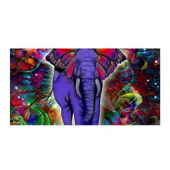 Abstract Elephant With Butterfly Ears Colorful Galaxy Satin Wrap by EDDArt