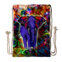 Abstract Elephant With Butterfly Ears Colorful Galaxy Drawstring Bag (large)