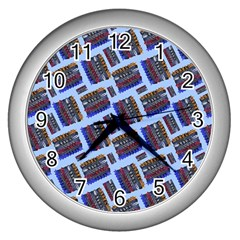 Abstract Pattern Seamless Artwork Wall Clocks (silver)  by Amaryn4rt