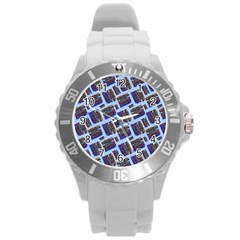 Abstract Pattern Seamless Artwork Round Plastic Sport Watch (l) by Amaryn4rt