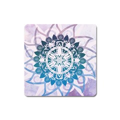 Mandalas Symmetry Meditation Round Square Magnet by Amaryn4rt
