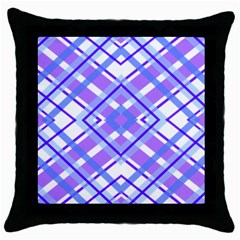 Geometric Plaid Pale Purple Blue Throw Pillow Case (black) by Amaryn4rt