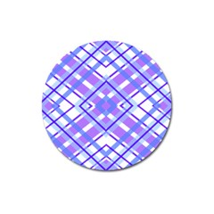 Geometric Plaid Pale Purple Blue Magnet 3  (round) by Amaryn4rt