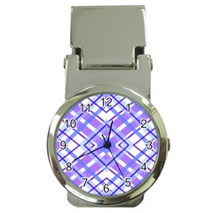Geometric Plaid Pale Purple Blue Money Clip Watches by Amaryn4rt