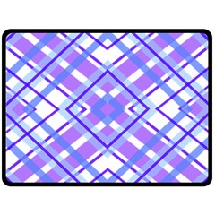 Geometric Plaid Pale Purple Blue Fleece Blanket (large)  by Amaryn4rt