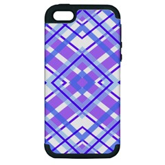 Geometric Plaid Pale Purple Blue Apple Iphone 5 Hardshell Case (pc+silicone) by Amaryn4rt
