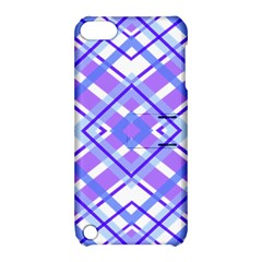 Geometric Plaid Pale Purple Blue Apple Ipod Touch 5 Hardshell Case With Stand by Amaryn4rt