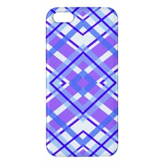 Geometric Plaid Pale Purple Blue Apple Iphone 5 Premium Hardshell Case by Amaryn4rt