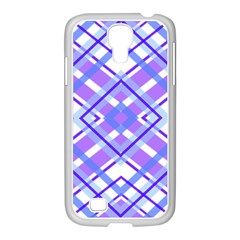 Geometric Plaid Pale Purple Blue Samsung Galaxy S4 I9500/ I9505 Case (white) by Amaryn4rt