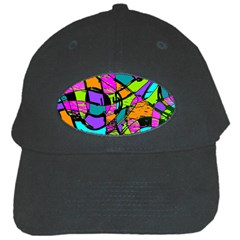 Abstract Art Squiggly Loops Multicolored Black Cap by EDDArt