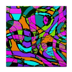 Abstract Art Squiggly Loops Multicolored Tile Coasters