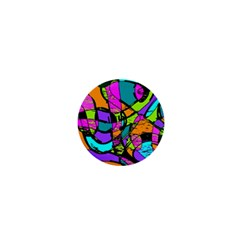 Abstract Art Squiggly Loops Multicolored 1  Mini Buttons