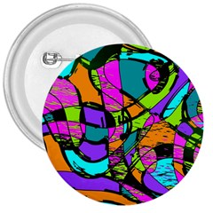 Abstract Art Squiggly Loops Multicolored 3  Buttons