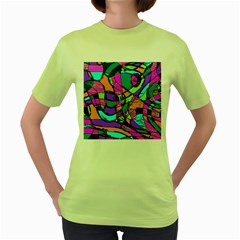 Abstract Art Squiggly Loops Multicolored Women s Green T Shirt