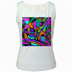 Abstract Art Squiggly Loops Multicolored Women s White Tank Top