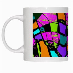 Abstract Art Squiggly Loops Multicolored White Mugs