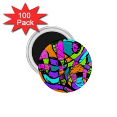 Abstract Art Squiggly Loops Multicolored 1 75  Magnets (100 Pack)  by EDDArt