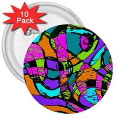 Abstract Art Squiggly Loops Multicolored 3  Buttons (10 Pack)