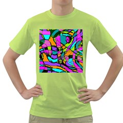 Abstract Art Squiggly Loops Multicolored Green T Shirt