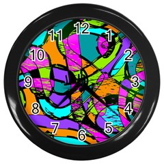 Abstract Art Squiggly Loops Multicolored Wall Clocks (black)