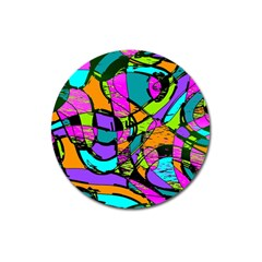 Abstract Art Squiggly Loops Multicolored Magnet 3  (round) by EDDArt