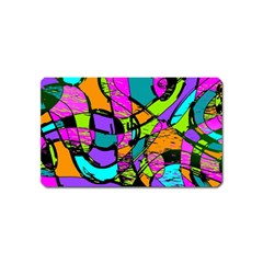Abstract Art Squiggly Loops Multicolored Magnet (name Card) by EDDArt