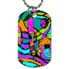 Abstract Art Squiggly Loops Multicolored Dog Tag (one Side)