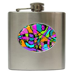 Abstract Art Squiggly Loops Multicolored Hip Flask (6 Oz) by EDDArt