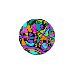 Abstract Art Squiggly Loops Multicolored Golf Ball Marker by EDDArt