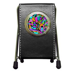 Abstract Art Squiggly Loops Multicolored Pen Holder Desk Clocks