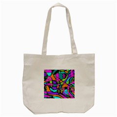 Abstract Art Squiggly Loops Multicolored Tote Bag (cream)