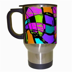Abstract Art Squiggly Loops Multicolored Travel Mugs (white)