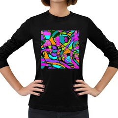 Abstract Art Squiggly Loops Multicolored Women s Long Sleeve Dark T Shirts