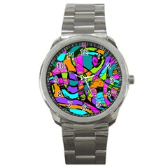 Abstract Art Squiggly Loops Multicolored Sport Metal Watch