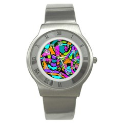Abstract Art Squiggly Loops Multicolored Stainless Steel Watch by EDDArt